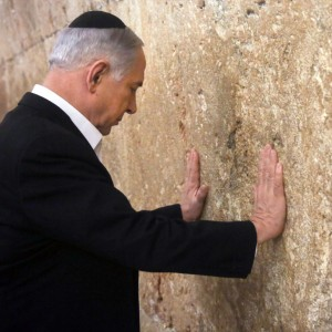 Israeli Prime Minister Benjamin Netanyahu visits the Western Wall in the Old City in East Jerusalem hours before departing for Washington DC to address congress, February, 28, 2015. (Photo: Marc Sellem/Reuters)