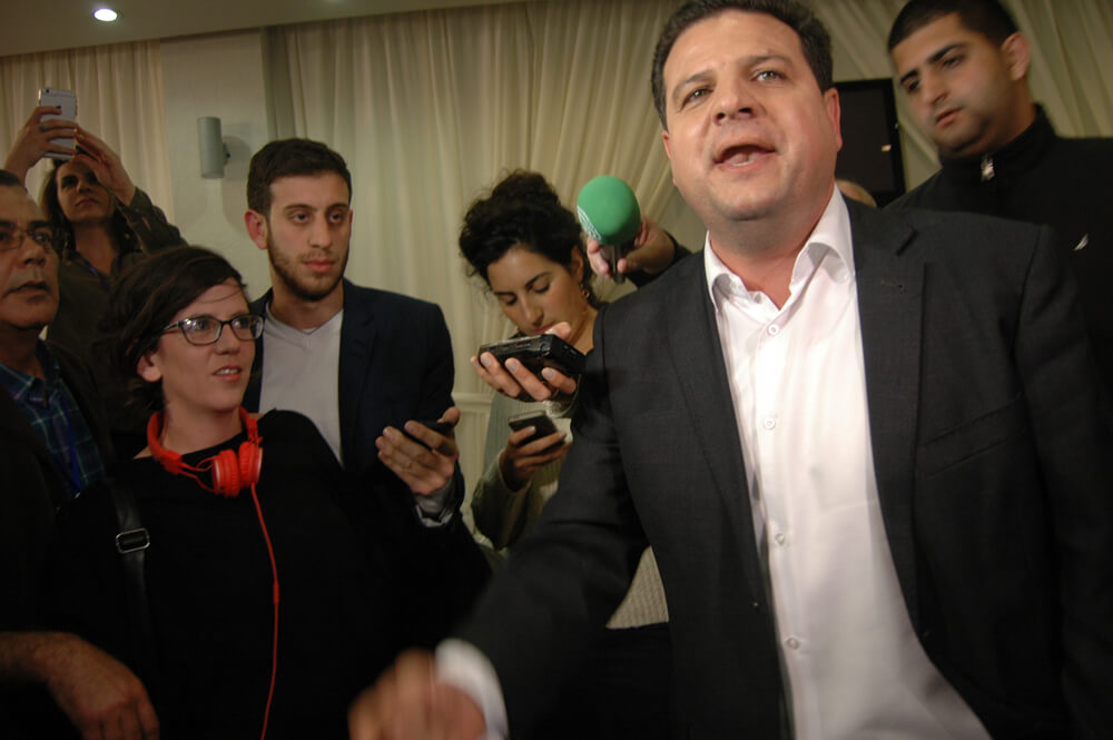 Ayman Odeh, head of the Joint Arab List, at campaign headquarters in Nazareth, Israel. (Photo: Allison Deger)