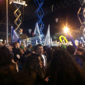 A right-wing rally in Tel Aviv. (Photo by Allison Deger0