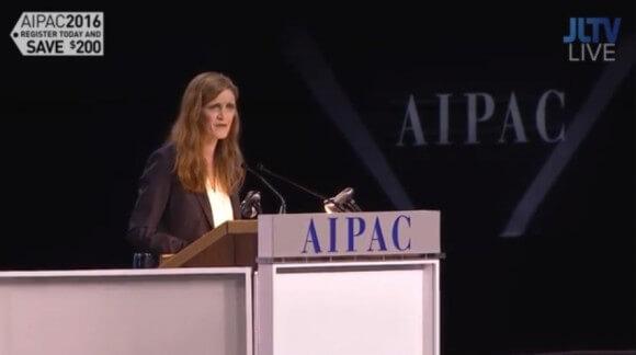 Samantha Power addressing AIPAC (Screenshot: JLTV)