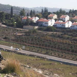 Photo from Times of Israel of Israeli soldier guarding Halamish settlement during Nabi Saleh protest on earlier occasion