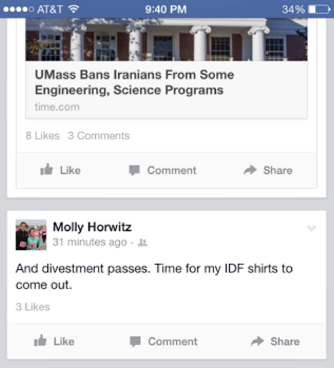 Facebook post removed by Horwitz