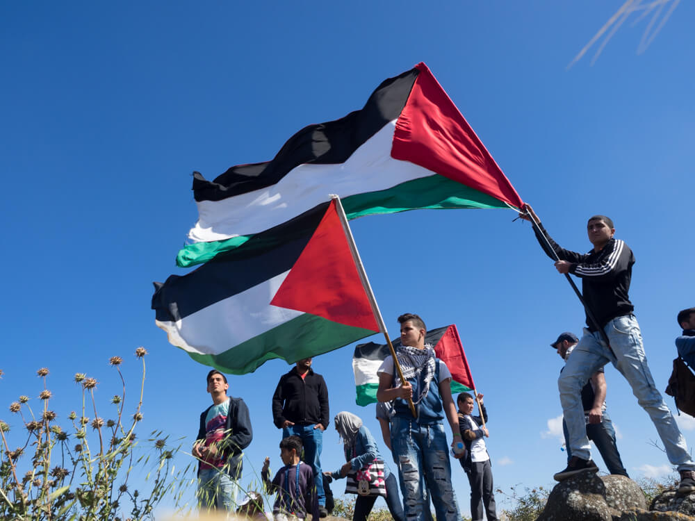 Young men wave Palestinian flags in the wind. (Photo: Dan Cohen)