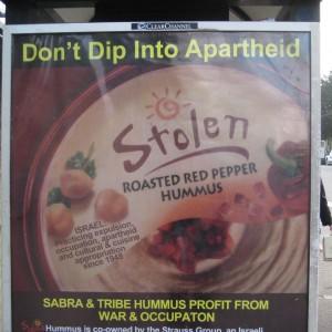 Boycott Sabra/Tribe guerilla advertising  in San Francisco, 2010 (Photo: Bay Area Campaign to End Israeli Apartheid)
