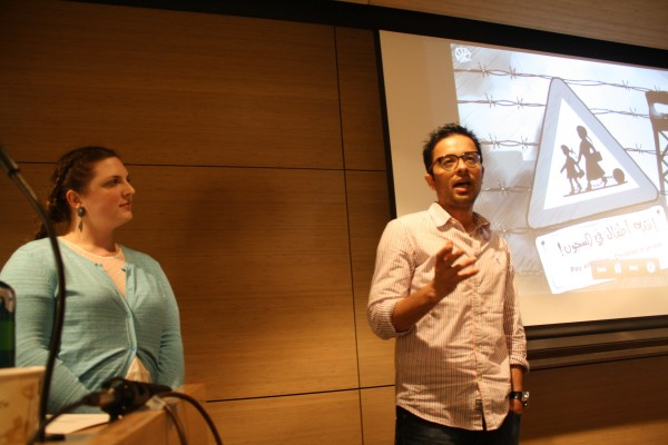 Palestinian cartoonist Mohammed Saba'aneh, center, speaking at the New School. (Photo: Alex Kane)