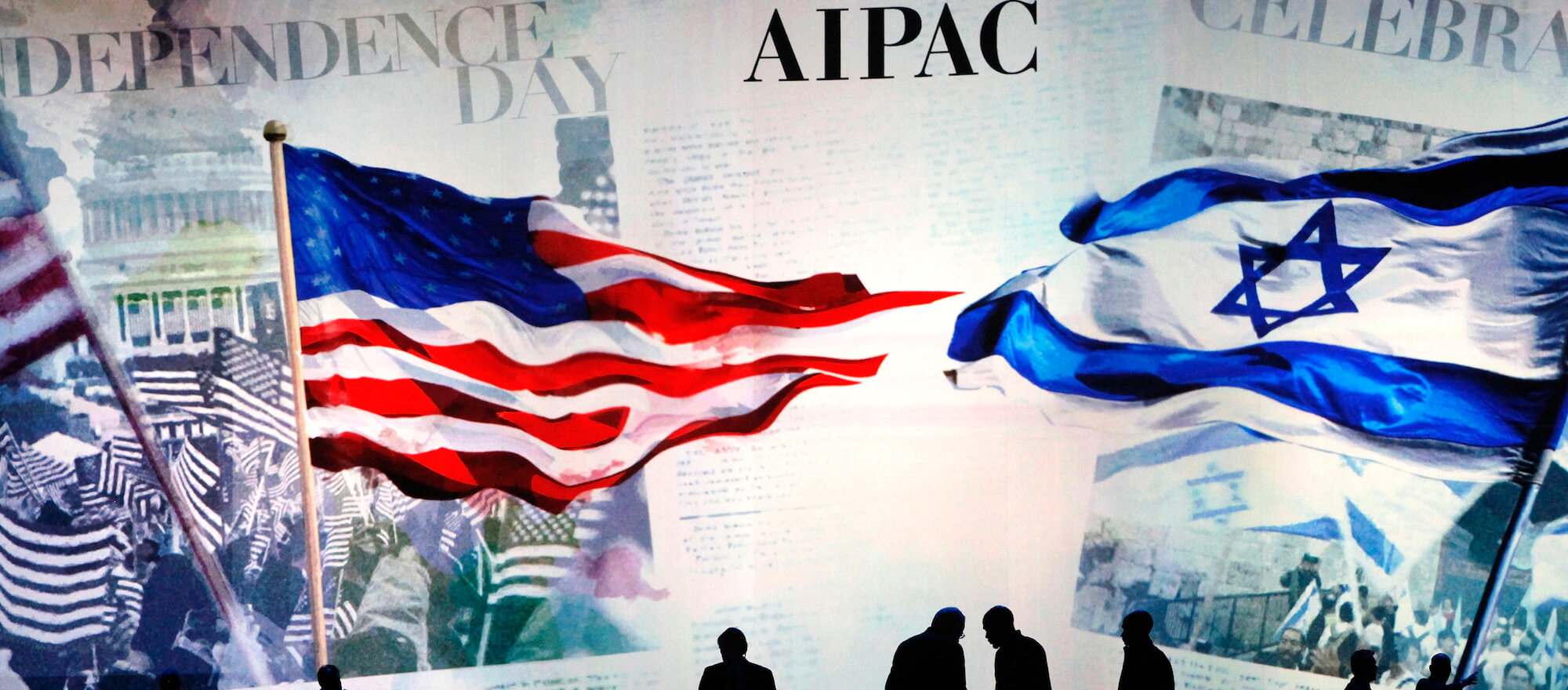 Workers prepare the stage at the American Israel Public Affairs Committee (AIPAC) policy conference in Washington, March 2, 2015. (Photo: REUTERS/Jonathan Ernst)