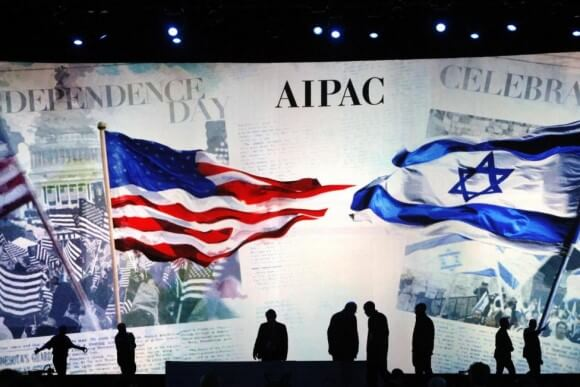 Workers prepare the stage at the American Israel Public Affairs Committee (AIPAC) policy conference in Washington