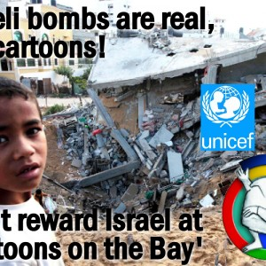 Israeli bombs are real, Not cartoons! (Graphic: Stephanie Westbrook)