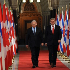 Israeli Prime Minister Benjamin Netanyahu (L) meets with Canadian Prime Minister Stephen Harper March 2, 2012 in Ottawa, Ontario, Canada. (Amos Ben Gershom/GPO via Getty Images)