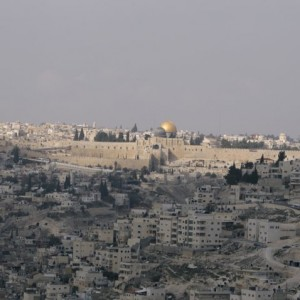 A view of the Old City looking west from the Jabel Mukaber neighborhood in East Jerusalem