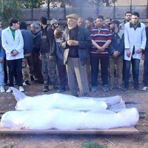 Funeral of two killed by shelling inside of Yarmouk refugee camp in Syria, April 2015. (Photo: Jafra Foundation for Youth Development and Relief)