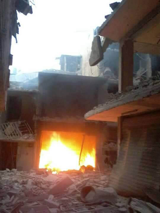 File photo of shelling from inside of Yarmouk refugee camp in Syria, April 2015. (Photo: Jafra Foundation for Youth Development and Relief)