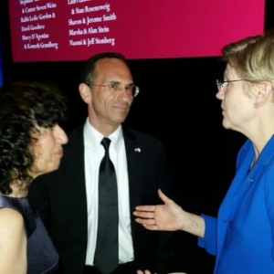 Elizabeth Warren with Israeli consul general Yehuda Yaakov