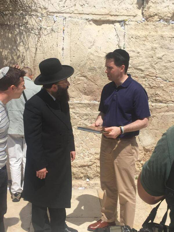 Governor Scott Walker in Jerusalem, from his twitter feed