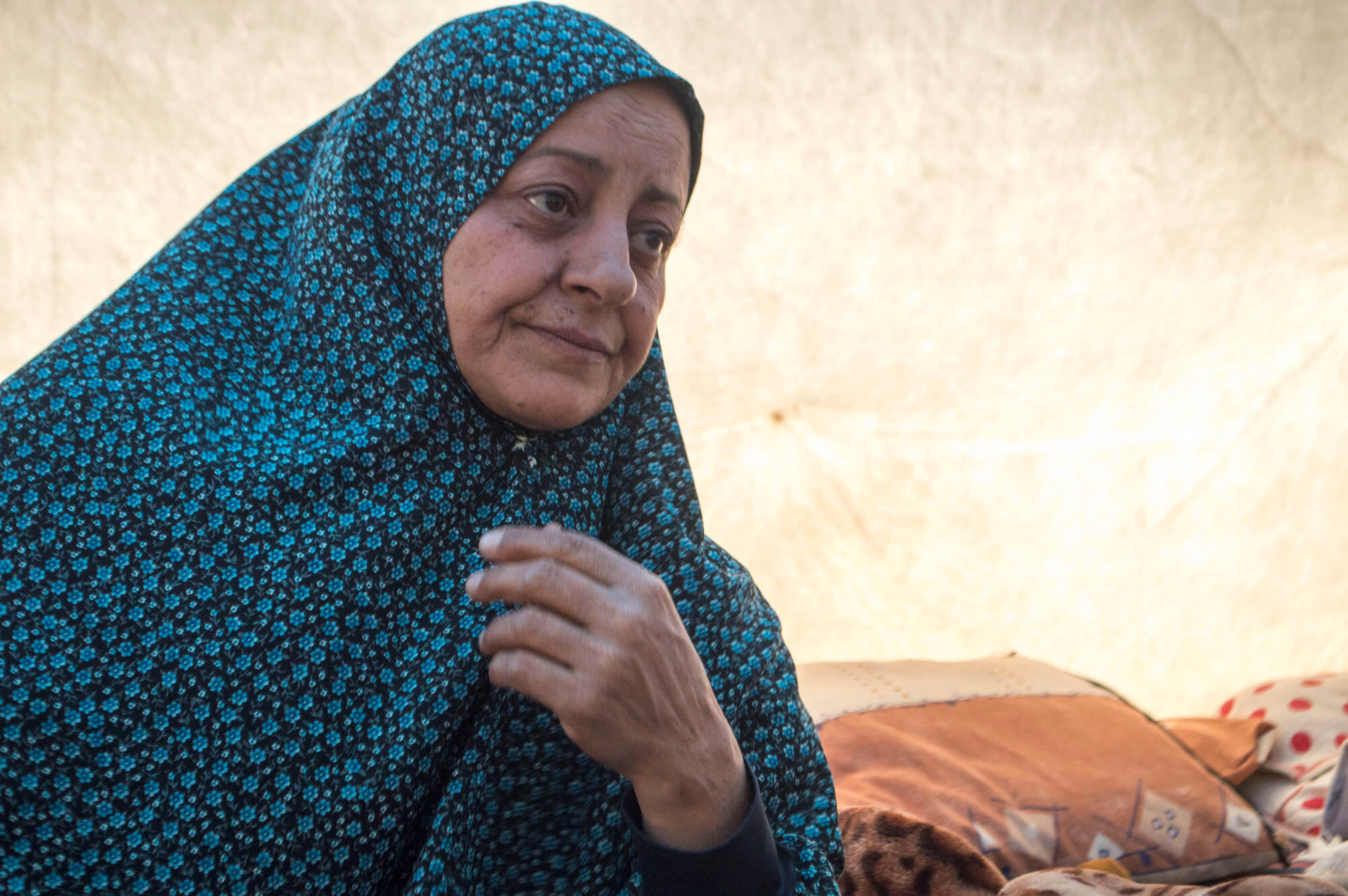 """Baharka camp is Hudda Awad's fifth refugee camp in her lifetime. After contracting cancer and now struggling to pay for the treatment - she believes it will be her last. The misfortune that has plighted her life since her parents fled the Nakba doesn't surprise her anymore. """"We, the Palestinians, are professional refugees,"""" Awad told Mondoweiss. (Photo: Abed Al Qaisi)"""