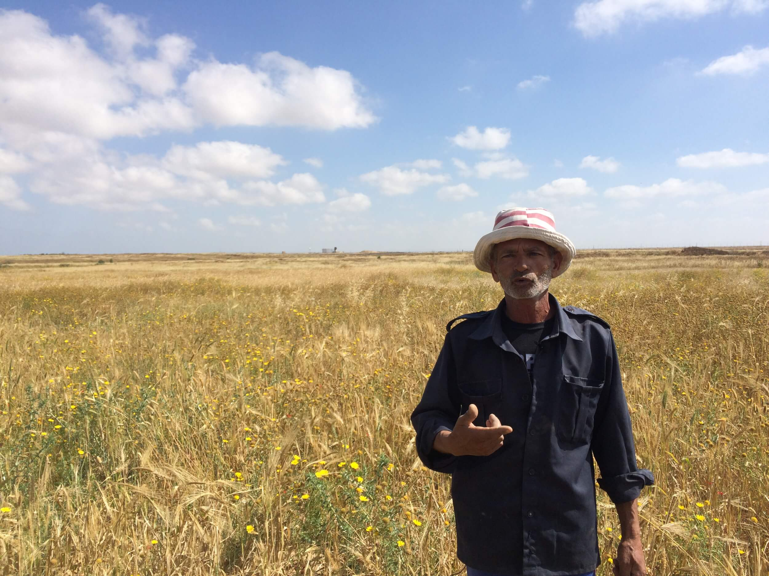 Farmer Jaber Abu Rujeila stands in his fields in the buffer zone. (Photo: Dan Cohen)
