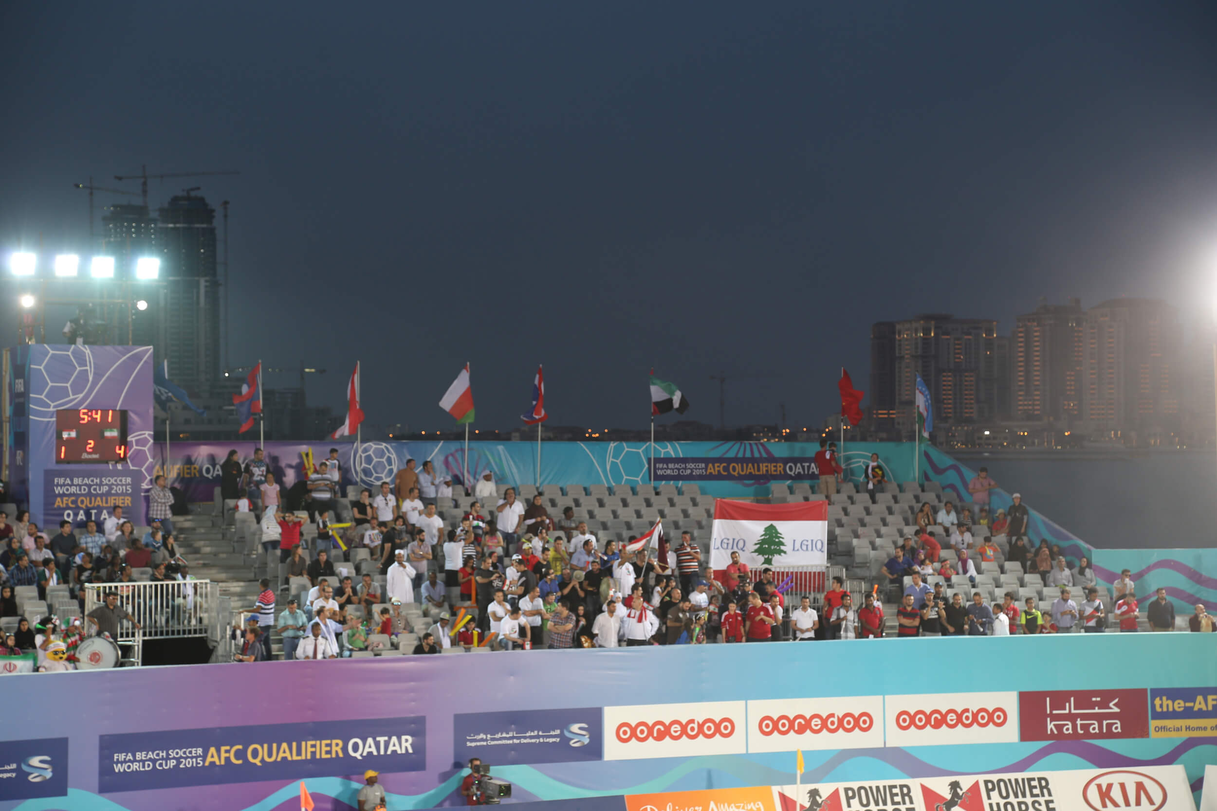 The missing Palestinian flag at the Beach Soccer Asian Qualifiers in Doha. (Photo: Raio Costa)