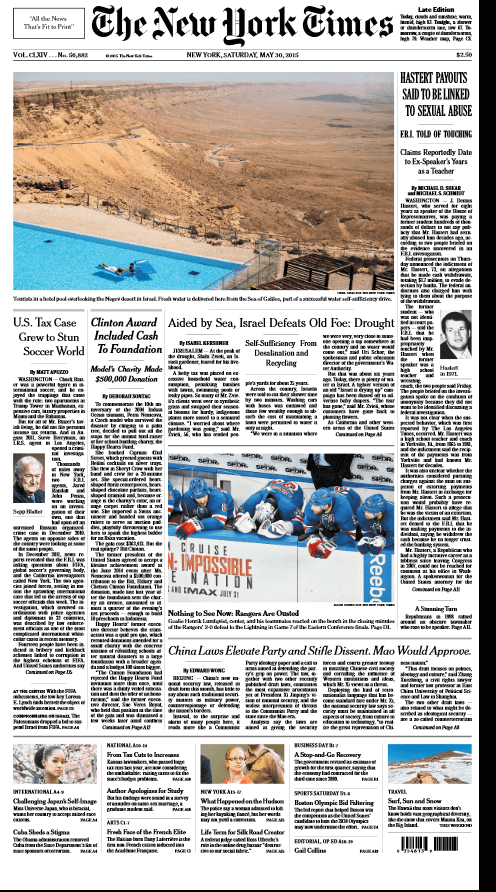 NYT front page May30, 2015