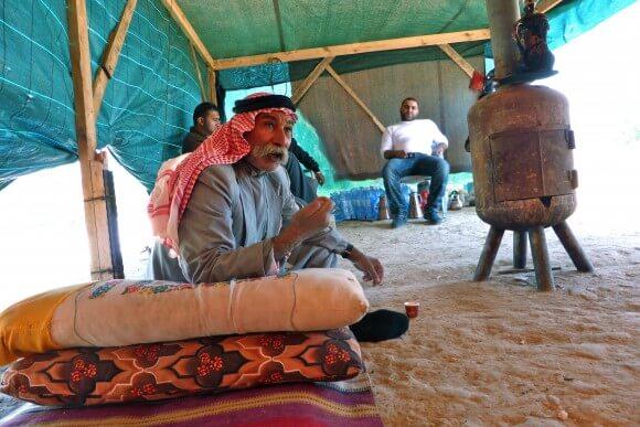 Sheik Sayah in temporary shelter, Al Arakib