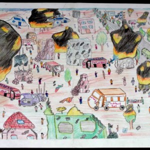 Drawing of Israeli attack on Gaza by an unknown child artist, from book A Child's View of Gaza published by Middle East Children's Alliance. http://www.shoppalestine.org/product-p/book_view_from_gaza.htm