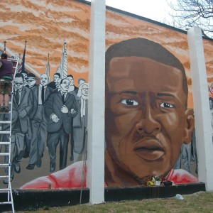 Mural of Freddie Gray in Sandtown-Winchester, Baltimore. (Photo: Allison Deger)