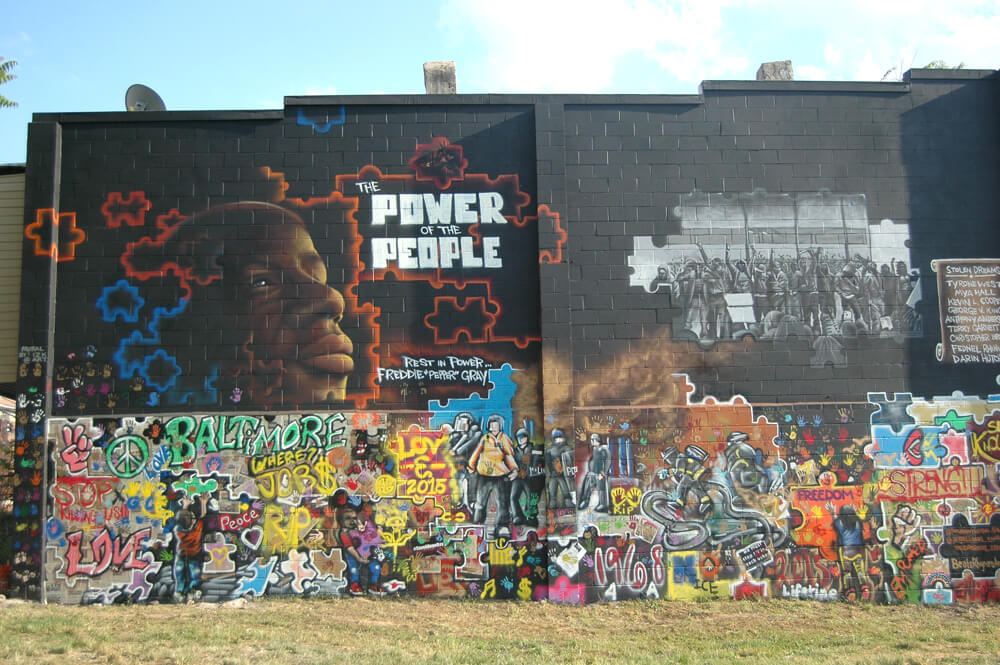 Mural of Freddie Gray in Sandtown-Winchester, Baltimore. (Photo: Allison Deger)