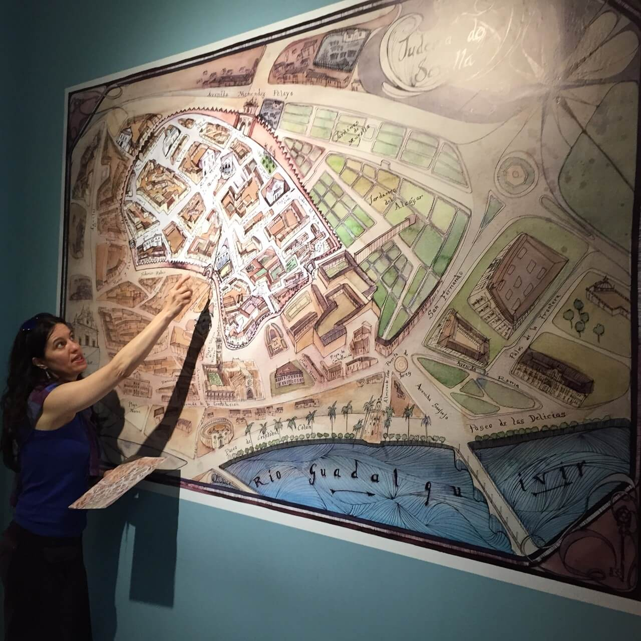 Our guide, Virginia, details a map of the ghetto where the Jews of Seville were confined under Christian rule