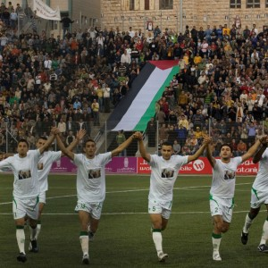 The Palestinian national soccer team.  (Photo: AP/Tara Todras-Whitehill)