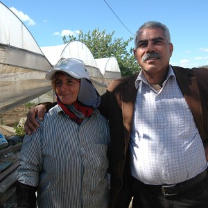 Fayez (R) and Mona Tneeb in their Tulkarm farm. (Photo: Allison Deger)