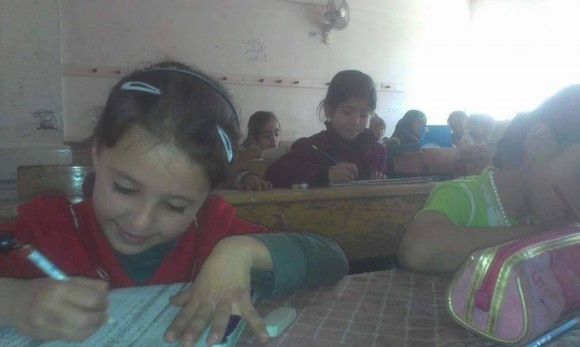 Jaramak school in Yarmouk camp, April 30, 2015. (Photo: Yarmouk63 Radio)