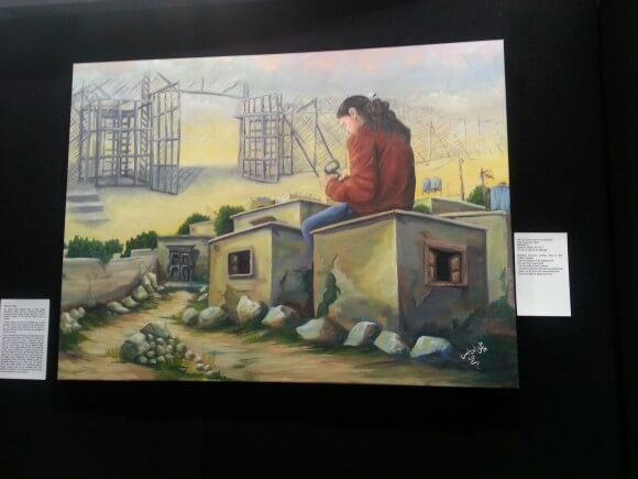 Nakba museum painting, by Wael Abu Yabes, photo by Alice Rothchild