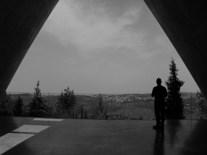 Adam at Yad Vashem looking out at the remains of the Palestinian village of Deir Yassin which was destroyed by Zionist forces during the Nakba.