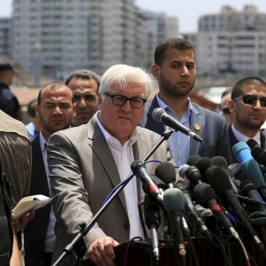 Germany's Foreign Minister Frank-Walter Steinmeier, center, talks during a press conference at fishermen's port in Gaza City, northern Gaza Strip, Monday, June 1, 2015. (Photo: AP Photo/Dawod Abu Elkas)