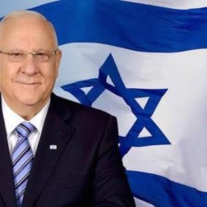 Israeli President Reuven Rivlin and the Israeli flag.
