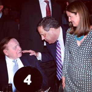 Sheldon Adelson with Chris Christie and Christie's wife Mary Pat at Rabbi Boteach event June 2, 2015