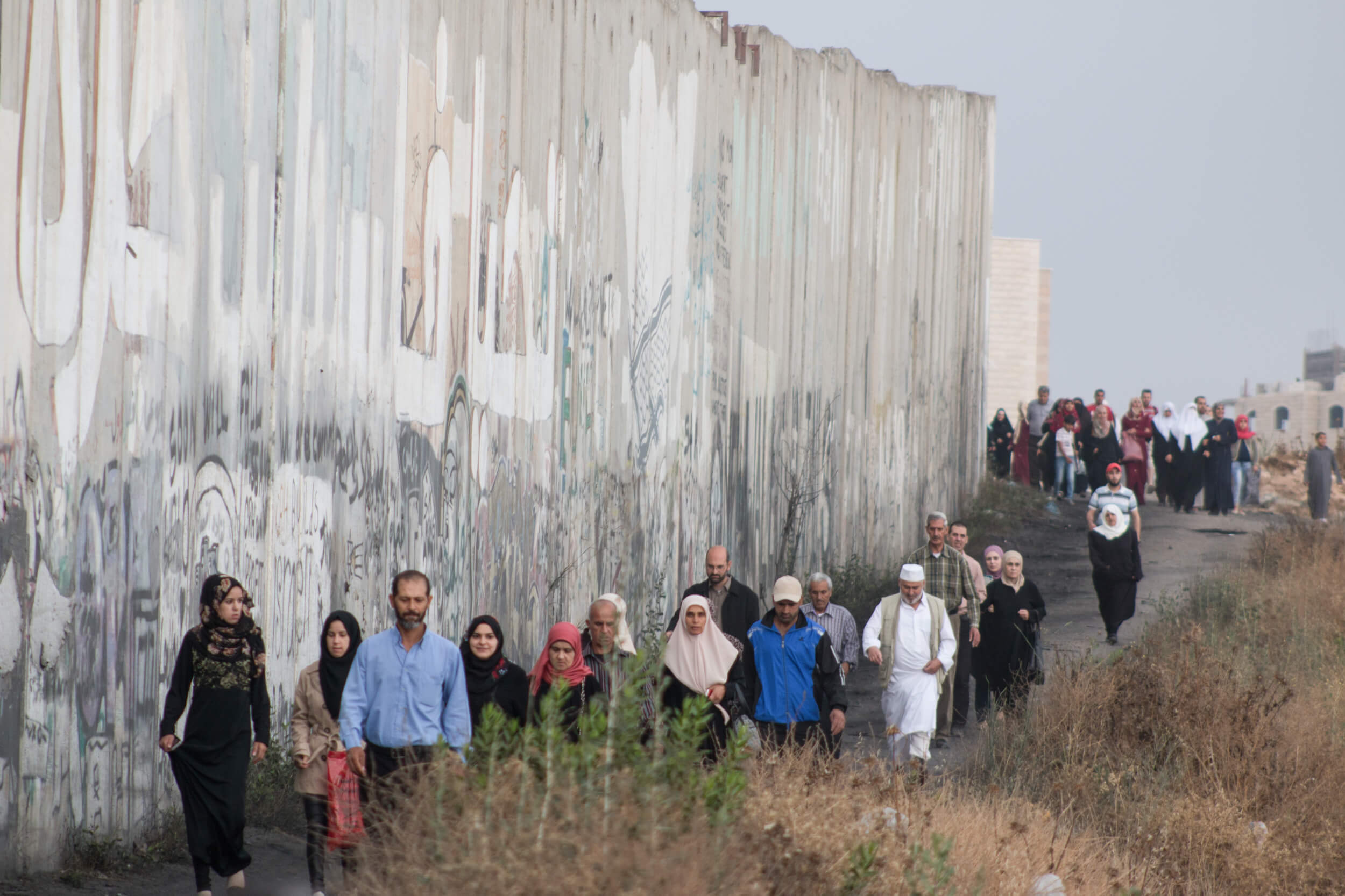 A large group from Jenin walks along the separation wall on their way to Qalandia.  Villages and cities across the West Bank organize special transportation on Fridays during Ramadan.   (Photo: Karam Saleem)