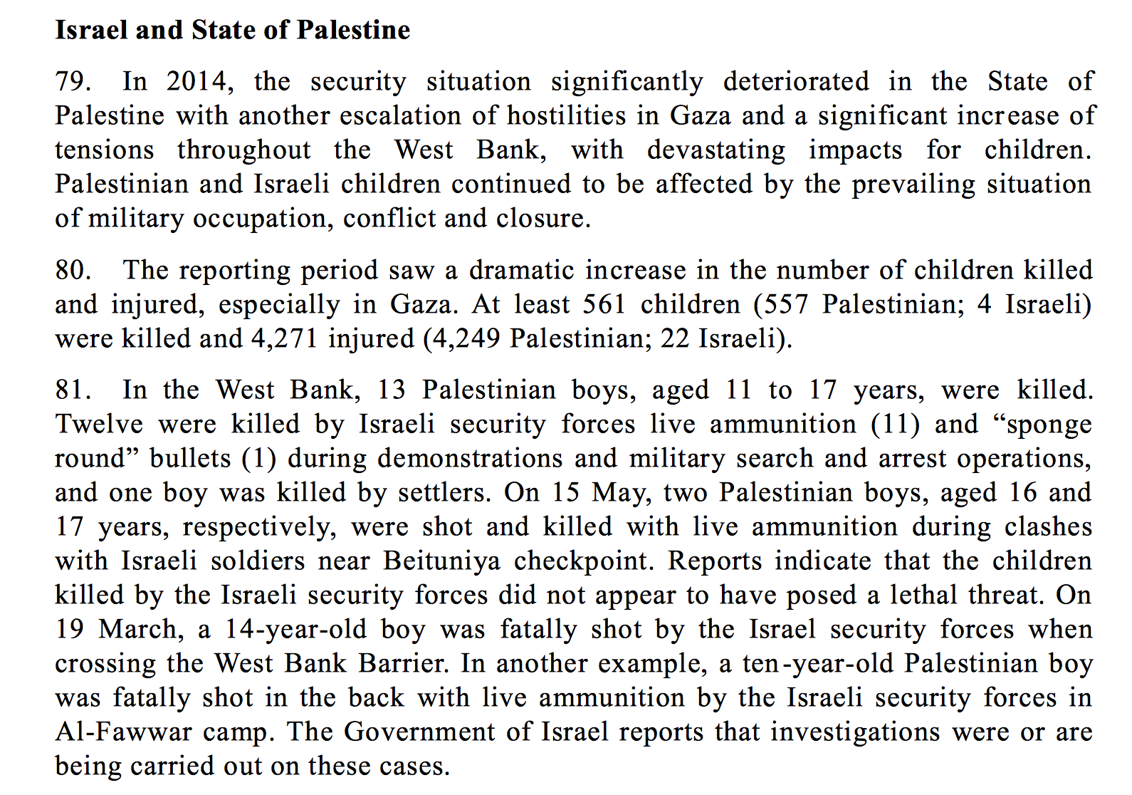 Screen shot of UN report on the killing and maiming of children.
