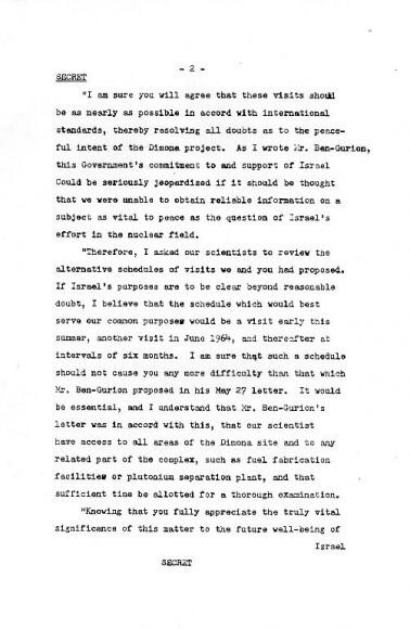 Kennedy-Eshkol letter, page 2