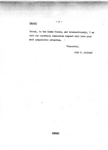 Kennedy Eshkol letter, page 3