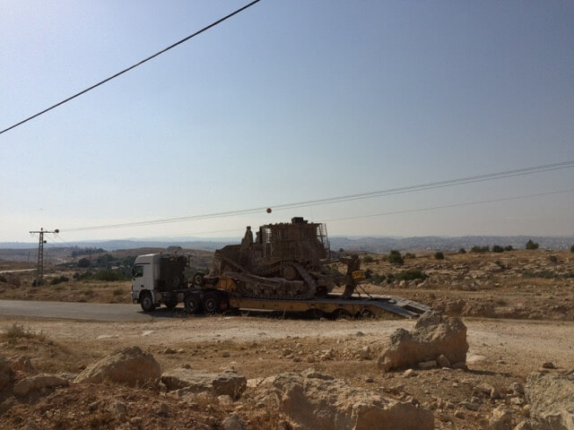 Bulldozers arrive outside Susiya July 3rd 2015 Photo: Rebuilding Alliance
