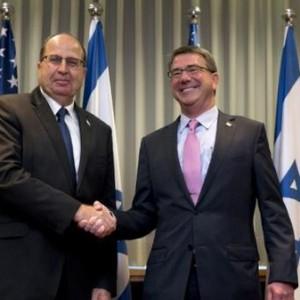 Israeli Defense minister Moshe Ya'alon greets US Defsec Ashton Carter