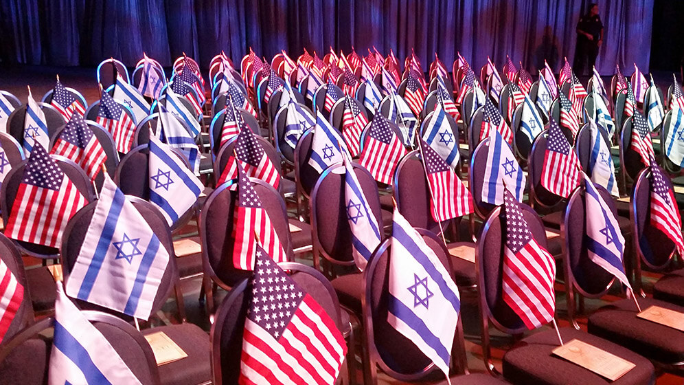Just some of the thousands of US and Israeli flags at the 2014 CUFI Summit