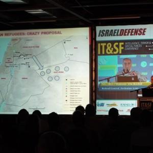 "Retired Jordanian army General Mansour Abu Rashid presents his ""crazy proposal."" (Photo: Dan Cohen)"