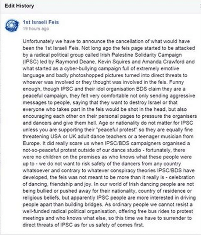 Screen Shot: 1st Israeli Feis announces the cancelation of their event by accusing Irish BDS activists of threatening to kill everyone participating in the event.  (Credit: Ronnie Barkan)
