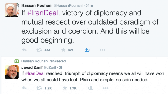 Screen shot of Hassan Rouhani's Twitter feed.