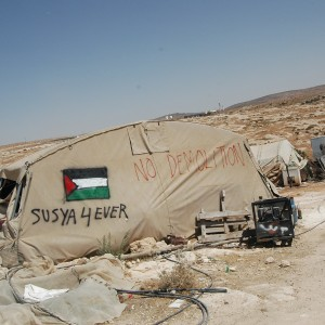 The Palestinian village of Susiya in the south Hebron hills, slated for demolition. (Photo: Allison Deger)