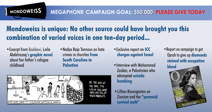 Please make a tax-deductible donation to Mondoweiss today, so we can keep sharing vital, diverse voices.