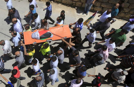 Mourners carry the body of 18-month-old Palestinian baby Ali Dawabsheh, who was killed after his family's house was set to fire in a suspected attack by Jewish extremists in Duma village near the West Bank city of Nablus July 31, 2015.  (Photo: Abed Omar Qusini/Reuters)
