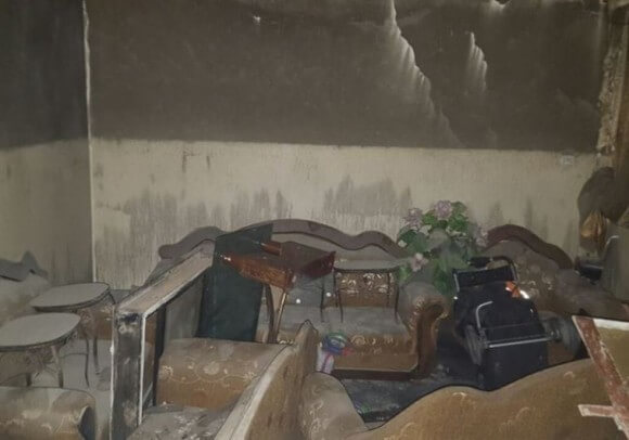 Interior of Palestinian home after settler arson attack. (Photo: Zakariya Saddeh/Rabbis for Human Rights).