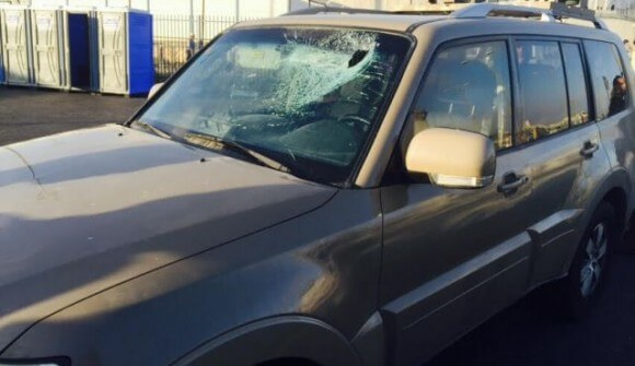Israeli army jeep with a shattered windshield. (Photo: IDF Spokesperson's Unit)